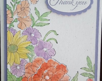 Shimmery Floral Thank You Card  - #THK 5