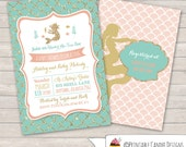 Mermaid Baby Shower Invitation - Mermaid Baby Shower - Seahorse Shell Baby Shower - Ocean Invitation - DIY Custom Printable