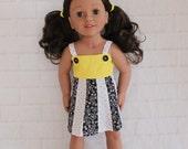 Totally Summer Panel Dress Yellow White & Black- Dolls Clothes for Australian Girl dolls