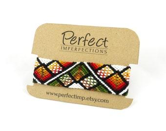 Autumn Fall Friendship Bracelet Cuff // Handwoven Macramé Best Friend Bracelet // OOAK Fall Bracelet // Wide Native American Unique Jewelry