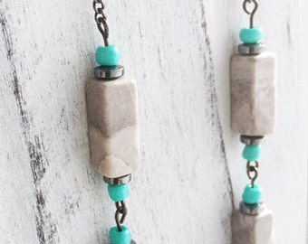 """Gray Marble, Hematite Bead, Turquoise Colored Glass Bead, 20"""", Necklace"""