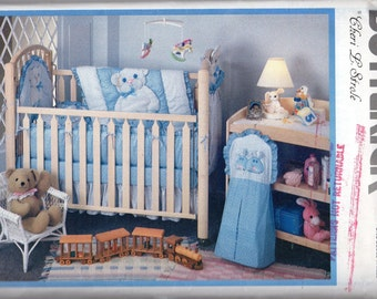 Baby Room Items Pattern - Pillow, Crib Quilt, Bumper, Laundry Bag, Diaper Bag, Crib Sheet, Dust Ruffle- Butterick 4495 uncut