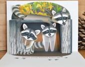 Pop up Raccoon Birthday Card Forest Friends 3D Birthday card