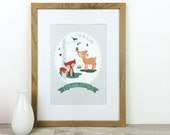 Children's Nursery Print - You Are So Loved - personalised print - christening gift - woodland nursery - new baby print - uk