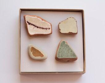 Unique Gift for Minimalist Woman   Ceramic magnet, zen, wabi sabi, Brown green stones, Beach founds ceramic pottery shard, Set 4 Magnets