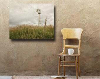 Windmill Gallery Wrap, Rustic Photography, Canvas Wall Art, Farmhouse Decor