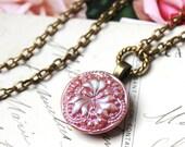 Czech Glass Necklace Demi Pendant Necklace, Pink Lustre, Colorful Glass Jewelry, Czech Art Glass Button Jewelry by veryDonna