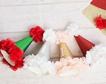 Girl Birthday Hats..Christmas Holiday..First Birthday Hat..Baby Girl 1st Birthday..Pink Gold Birthday Hat..Silver Birthday..2nd Birthday hat