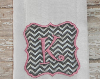 Pink & Gray Embroidered Burp Cloth with Initial