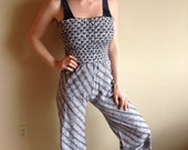 50% OFF Palazzo Pant Suit, Sleeveless, Black and White Batik, One Piece Bellbottoms, Tube Top Romper, Vintage Size 11
