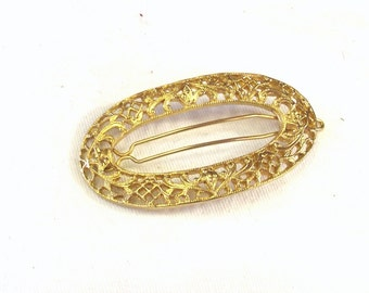 Retro Hair Accessory- Vintage Barrette - Metal Filigree Hair Clip - Gift For Her