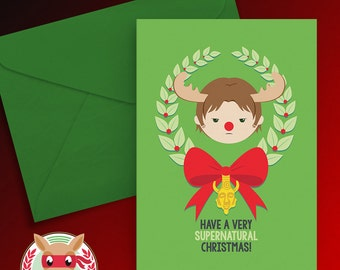 A Very Supernatural Christmas Card - Sam Winchester - PRINTABLE