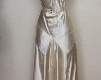 Vintage 1920's 30's Ivory Satin Evening Gown Bride Dress