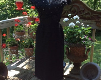 Muy Bonita 1950's Tiered Black Lace Cocktail Party Dress M