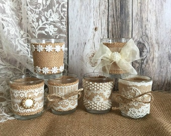 6 rustic natural color burlap and lace covered votive tea candles, wedding favor or table decoration