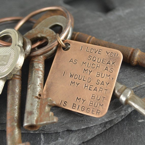 Gifts For 19th Wedding Anniversary: Bronze Key Chain. Solid Bronze Gift 8th Anniversary 19th