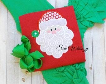 Christmas santa and ruffle pant set- Christmas outfit