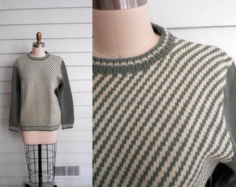 1970s diagonal green and white striped sweater / Small to Medium vintage ladies crew neck chunky knit wool pullover in sage and white
