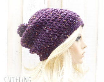 Womens hat trendy Pompom hat Purple hat Chunky crochet beanie Slouch hat Tweed confetti Winter hat Warm slouchy hat 'AMSTERDAM'