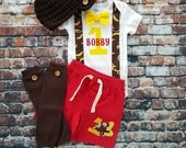 Curious George 1st Birthday Tie and Suspender Bodysuit, Shorts, Button Leg Warmers, First Birthday outfit, Baby Birthday Gift, Personalized