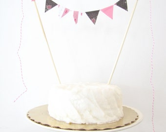 """Pink Stripes Cake Topper - Fabric Cake Bunting, Baby Shower, Wedding, Birthday Party Decor """"Chocolate Box"""" white brown tulips spring pastel"""
