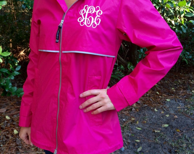 Monogram Rain Jacket - Monogrammed Rain Coat - Monogrammed Gifts - Charles River Apparel Rain Jacket - Bridesmaid Gift