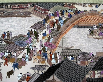Vintage Chinese Suzhou Silk Embroidery Panel of Along the River During the Ch'ing-ming Festival - Chinese Su Silk Embroidery Panel