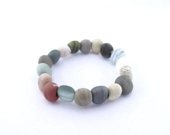 Pebble jewelry  - lampwork glass beads - natural  bracelet