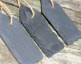 6 Slate Signs Tag Shaped Slates Signs Wedding Signs Table Number Signs Chalkboard Sign Tag Slates With Jute Rope