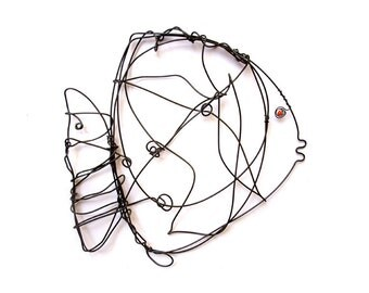 Fish Wire Art , Wire Fish, Wire Animal, Fish Home Decor, Black Fish, Fish Sculpture, Fish Mobile, Wall art fish, Unique fish