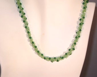 Green Pearl and Seed Bead Necklace