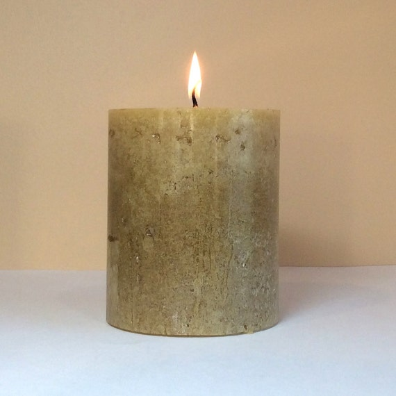 """4"""" Wide Rustic Light Brown Unscented Pillar Candle - Choose 4"""", 6"""" or 9"""" Tall"""