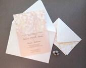 Printable Wedding Invitation -  Rose Gold Wedding Invitation, Gold and Blush Sparkles Wedding Invitation,