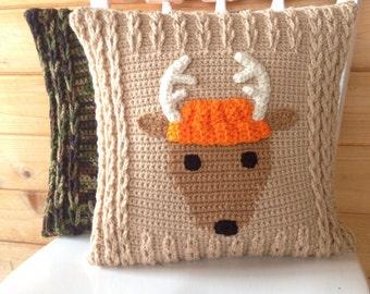 Deer Antler pillow cover crochet - Home Bedroom Baby Nursery Decor - Dodge the Deer - Antlers - woodland friend