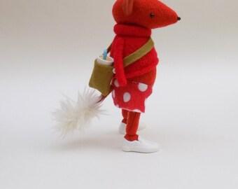 Woollen Fox  -  Handmade woolly plush fox wearing a red woollen pullover, pink felt pants and a spotty A line felt skirt.