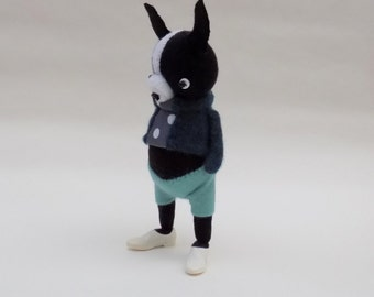 Woollen Boston Terrier  -  Handmade woolly plush terrier wearing blue cashmere pullover and matching felt pants.