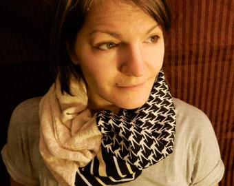 Stripe and Bird Cowl Circle Scarf