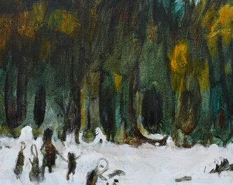 FAIRYTALE FOREST Original Painting on Canvas Graphic Art Artwork Illustration Contemporary