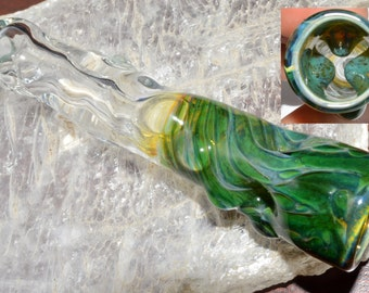 Glass Chillum Pipe Heady Ice Pinch with Trippy Blue Caramel Honeycomb and Twisted Stem - Handblown - Color Changer
