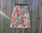 1960s Inspired Fashion: Recreate the Look M L Medium Large Vintage 60s 70s Groovy Festival Psychedelic Trippy Hippie Indie Hipster Handmade Elastic Waist Skirt $29.29 AT vintagedancer.com