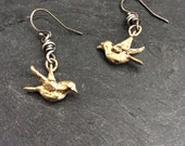 Bluebird dangle earrings - 'birds in flight' boho gold bronze and sterling jewelry by mollymoojewels