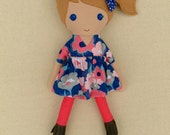 Reserved for Nicole - Fabric Doll Rag Doll Light Brown Haired Girl in Navy and Coral Floral Dress