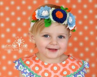 Flower Crown / M2M Matilda Jane / Wool Felt Flower Crown / Orange / Blue / White / Picnic Pie / Toddler Headband / Baby Headband HB1339