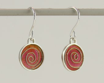 Silver plique a jour enamel, stained glass earrings, red spiral