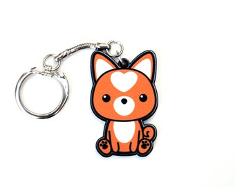 Shiba Inu Keychain, Kawaii Orange Doge Key Chain, Red Dog Breed with Heart Spot, Dog Lover Gifts, Curly Tail Puppy