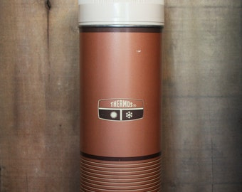 Vintage 1967 Brown Striped Wide Mouth Metal Quart Size Thermos