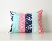 "Lumbar Pillow Cover, Aqua, Navy, Coral Pink, White, Modern, 12x16"", Patchwork, Chevron, Nursery, Color Block, Pattern Block, Geometric"