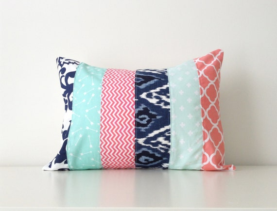 Lumbar Pillow Cover Aqua Navy Coral Pink White Modern