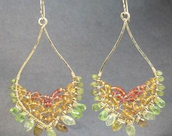 Hammered marquise earrings pink ruby, orange sapphire, mandarin garnet, green garnet, peridot Luxe Bijoux 234