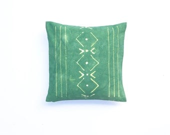 Sale: Emerald Green Pillow Cover with Tribal Design Boho Pillow Emerald Pillow Forest Green Pillow Cover Decorative Throw Pillow 18 x 18